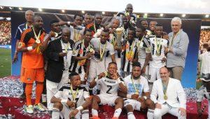 Les joueurs du TP Mazembe lors leur victoire en Coupe de la Confédération l'année dernière le 6 novembre 2016 à Lubumbashi.