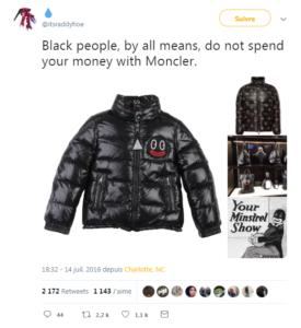 moncler Blackface internaute twitter