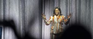 Former US first lady Michelle Obama speaks on stage at Accor Hotel Arena  in Paris on April 16, 2019 during a tour to promote her memoir Becoming. Photo by Eliot Blondet/ABACAPRESS.COM  | 679209_017 Paris France