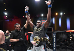 Mar 27, 2021; Las Vegas, NV, USA;  Francis Ngannou of Cameroon reacts after his victory over Stipe Miocic in their UFC heavyweight championship fight during the UFC 260 event at UFC APEX on March 27, 2021 in Las Vegas, Nevada.   Mandatory Credit: Jeff Bottari/Handout Photo via USA TODAY Sports